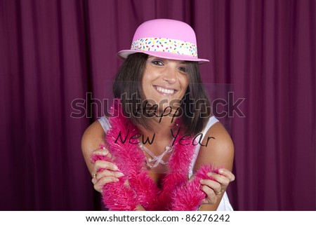 beautiful and sexy woman celebrating the new year eve - stock photo