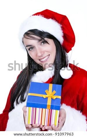 Beautiful and sexy woman wearing santa claus costume - stock photo