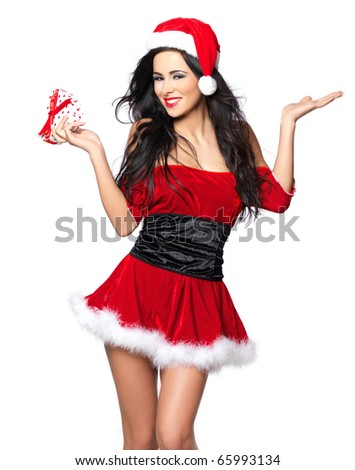 Beautiful and sexy woman wearing santa clause costume - stock photo