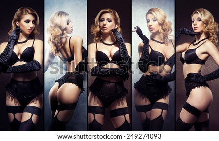 Beautiful and sexy women in lingerie. Erotic underwear collection. - stock photo