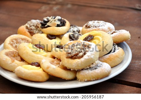beautiful and very tasty wedding biscuits - stock photo