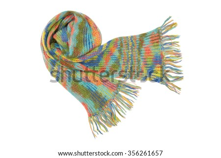 beautiful and warm multicolored scarf  - stock photo
