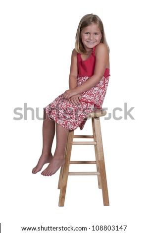 Beautiful and young stylish little girl - stock photo