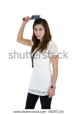 beautiful angry woman attacking with a big knife, isolated on white background - stock photo