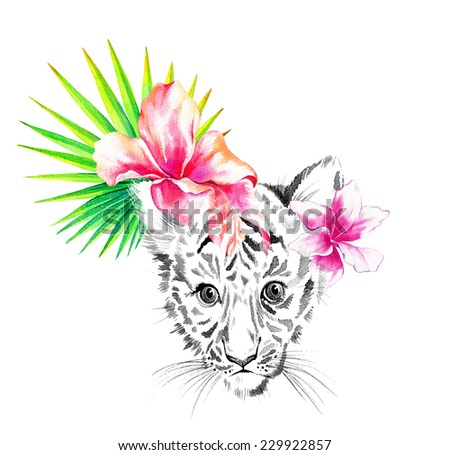 beautiful animal portrait with a young tiger with floral embellishment, drawing in watercolor on white background. - stock photo