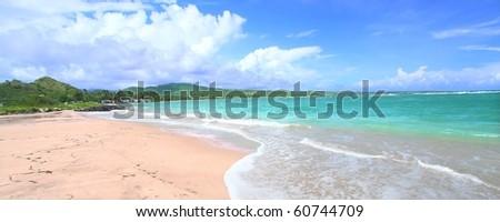 Beautiful Anse de Sables Beach on the Caribbean island of Saint Lucia - stock photo