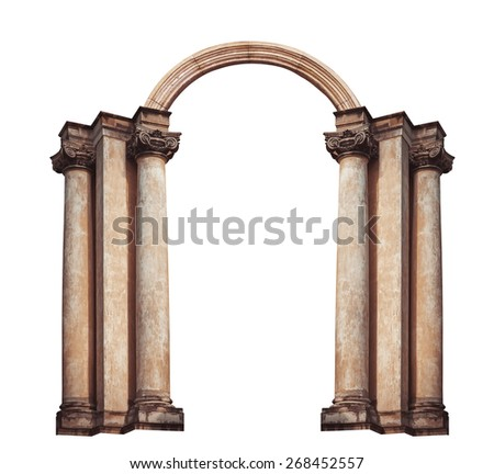 Beautiful antique arch isolated on white background. - stock photo