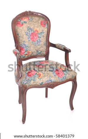 beautiful antique padded chair isolated on white background - stock photo