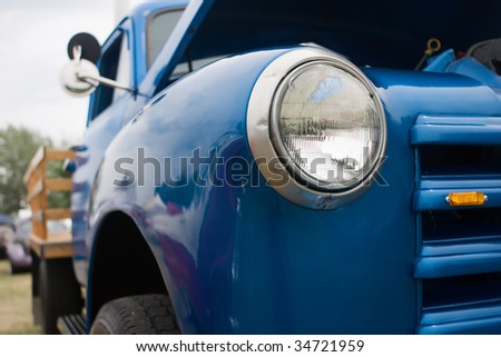 Beautiful Antique truck at a local car show. - stock photo