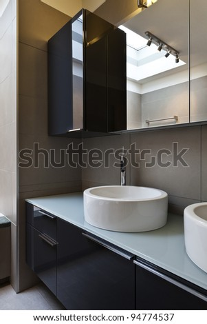 beautiful apartment, interior, bathroom, sinks and mirror - stock photo