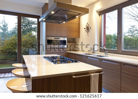 beautiful apartment, interior, kitchen - stock photo