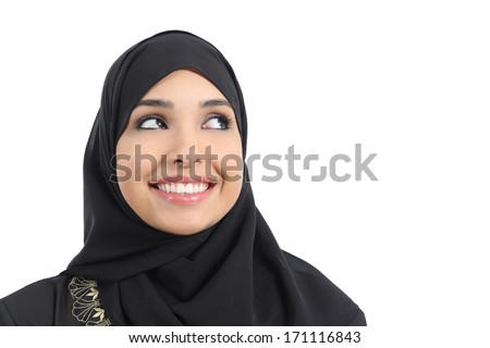 Beautiful arab woman face looking an advertising above isolated on a white background          - stock photo