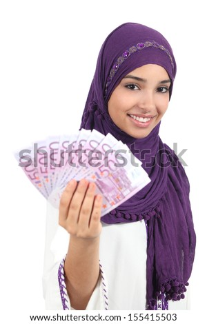 Beautiful arab woman holding and showing money isolated on a white background          - stock photo