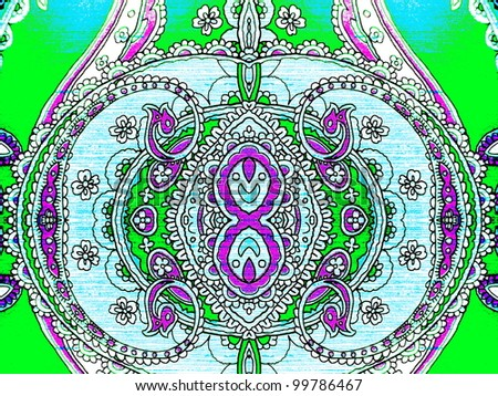 Beautiful arabesque ornament in green, violet, blue and white. Good for oriental, arabic, abstract or pattern design. - stock photo