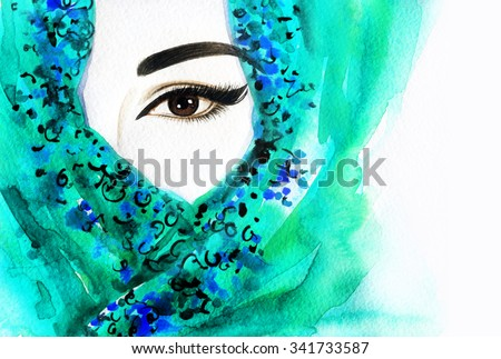 Beautiful Arabic woman. perfect makeup and accessories hiding her face behind a veil. Indian style. watercolor illustration - stock photo