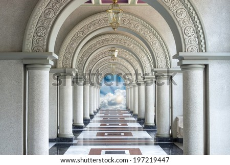 Beautiful Arched walkway with blue sky and cloud - stock photo