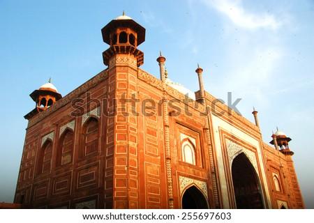 Beautiful architect of Taj Mahal gate, Landmark of India - stock photo
