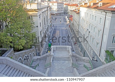 Beautiful architecture, and buildings of Trieste, Italy - stock photo