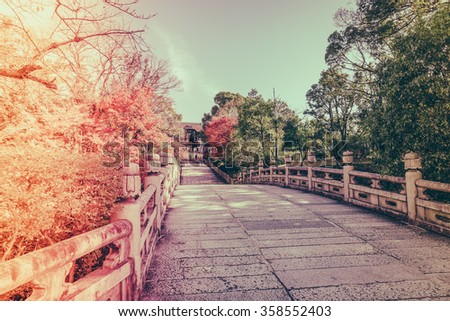 Beautiful Architecture in Kiyomizu-dera Temple Kyoto, Japan ( Filtered image processed vintage effect. ) - stock photo