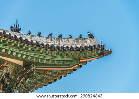 Beautiful architecture pattern in Korean roof style - stock photo