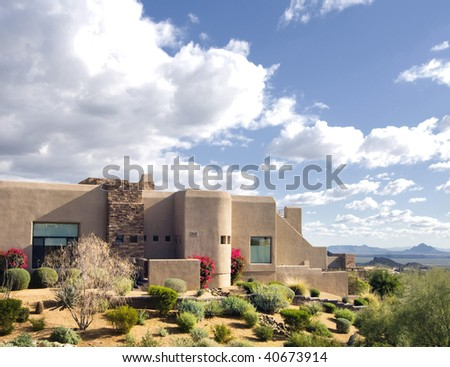Beautiful Arizona home on the side of a mountain - stock photo