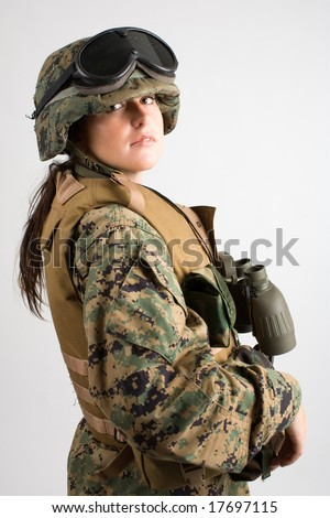 Beautiful army girl. Uniform conforms to special services (soldiers) of the NATO countries. - stock photo