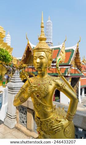 beautiful art door in  Wat Phra Kaew, Temple of the Emerald Buddha, Bangkok, Thailand. - stock photo