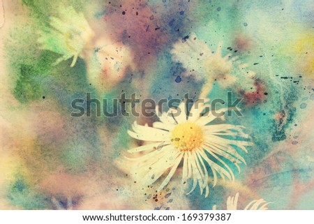 beautiful artwork with small chamomile's flower and watercolor splashes - stock photo