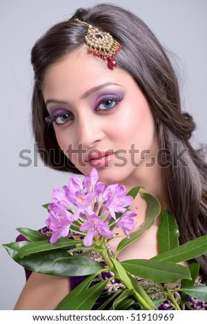 Beautiful asian bride - stock photo