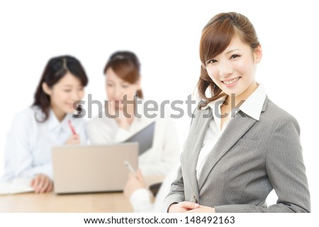 Beautiful asian business women isolated on white background - stock photo