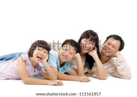 beautiful asian family isolated on white - stock photo