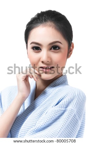 Beautiful asian girl in casual and smiling face - stock photo