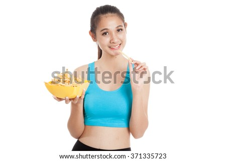 Beautiful Asian healthy girl eat  french fries  isolated on white background - stock photo