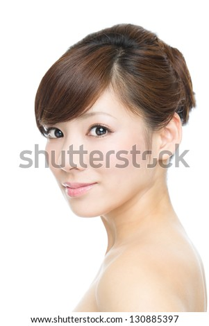 Beautiful asian woman on white background - stock photo