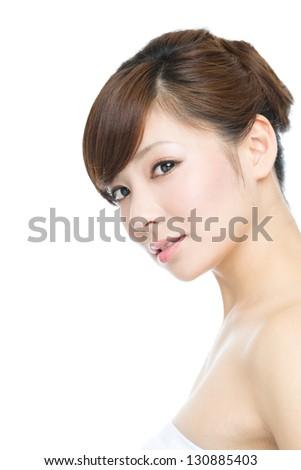 Beautiful asian woman on white background - stock photo