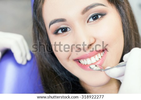 Beautiful asian woman smile with healthy teeth whitening. Dental care concept. - stock photo