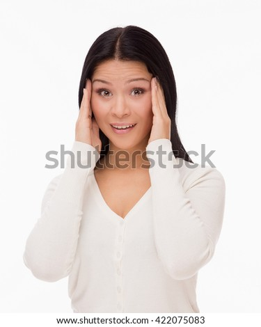 Beautiful asian woman with migraine isolated on white - stock photo