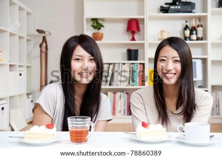 beautiful asian women relaxing in the room - stock photo