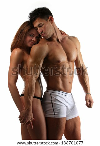 Beautiful athletic couple after training. - stock photo