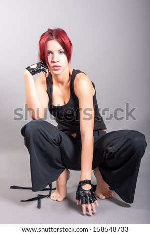beautiful athletic girl dancer - stock photo