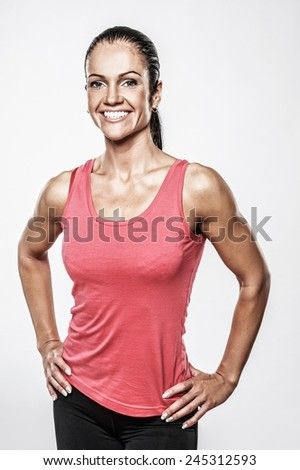 Beautiful athletic woman in sport club  - stock photo
