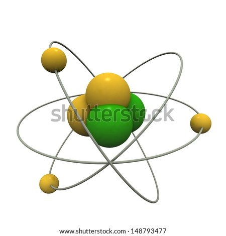 Beautiful atom model - stock photo