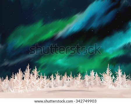 Beautiful Aurora winter landscape with frosted fir trees forest in far away. Digital painting. - stock photo
