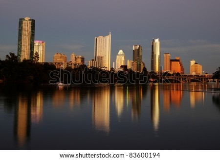 Beautiful Austin skyline reflection at sunset - stock photo