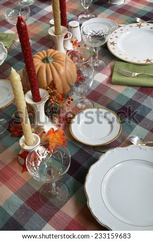 Beautiful Autumn Fall theme Thanksgiving dinner table place setting - stock photo