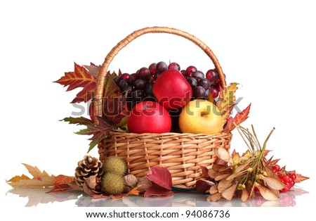 beautiful autumn harvest in basket and leaves isolated on white - stock photo