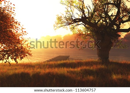 Beautiful Autumn Lake Nature Scene 3D render - stock photo