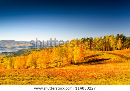 Beautiful autumn landscape. Fall season. - stock photo