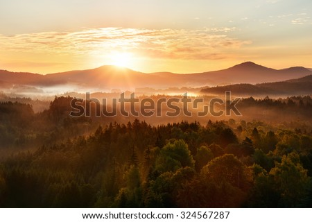 Beautiful autumn morning on the view point above the deep forest valley in national park Bohemian Switzerland.  - stock photo