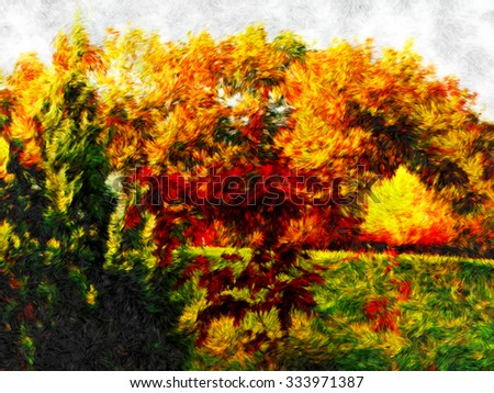 beautiful autumn view in Bulgarian city - Gabrovo, original impressionism oil painting, colorful burning colors forest, golden season colors - stock photo